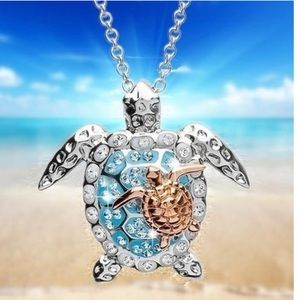 Beautiful turtle with baby necklace and pendant